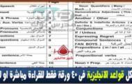 ملخص لكل قواعد اللغة الإنجليزية في 40 ورقة فقط باللغة العربية مجانًا